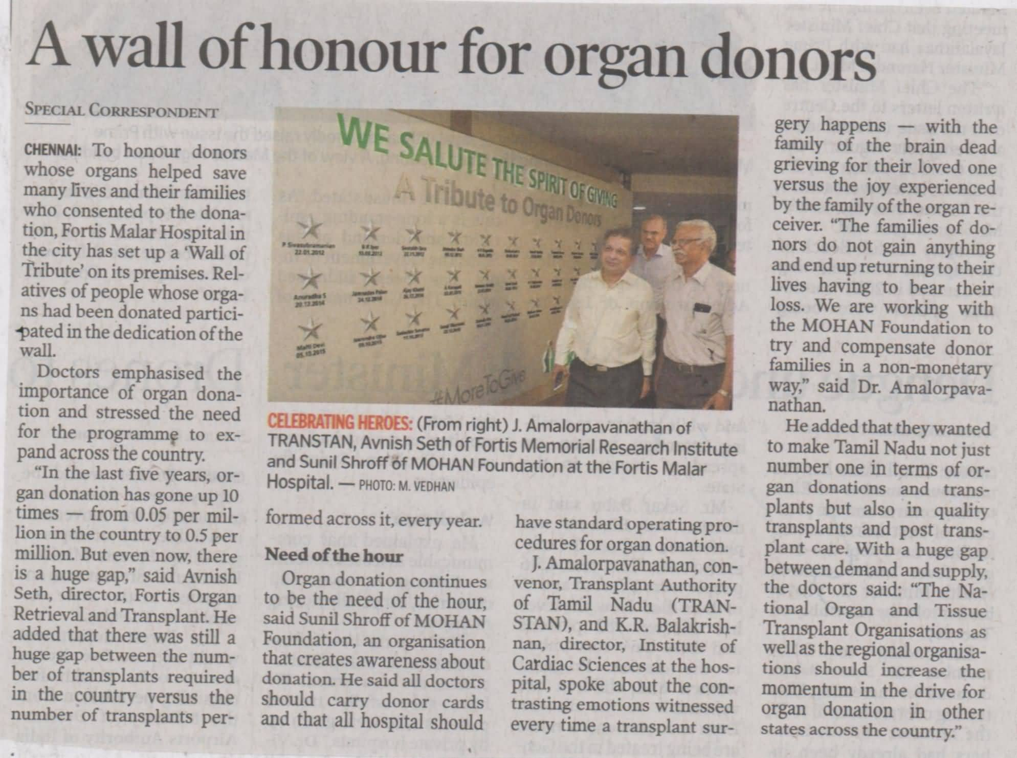 Fortis Healthcare dedicates Wall of Tribute to Organ Donors